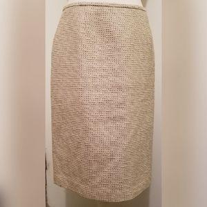 Calvin Klein Tan Tweed Pencil Skirt Knee Length